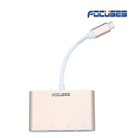 FOCUSES USB-C Multiport Adapter with 3 Ports USB 3.0 and one Type-C output