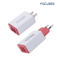 Focuses- Premium (CE Certified) 5V/2.1A (EU/US Plug) Dual USB Wall Charger