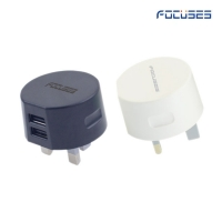 Focuses- Premium (CE Certified) 5V/2.1A Dual USB Wall Mount Charger For All Smart Phones