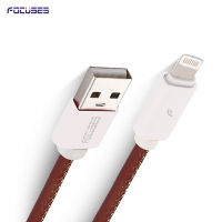 FOCUSES Premium 3.28ft/1.0m Leather Quick Charging Cable for iPhone