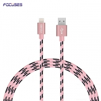 FOCUSES Premium 3.28ft/1.0m Nylon Braided Jacket iOs USB Data Cable for iPhone5/5C/5S/SE/6/6S/6Plus/6S Plus/iPad/iPod