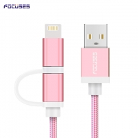 FOCUSES Premium 3.28ft/1.0m Micro USB and iOs Two in One USB Data Transfer Charging Cord